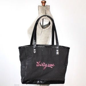 🎀3/$30 Thirty One Black White Polka Dot Tote Bag